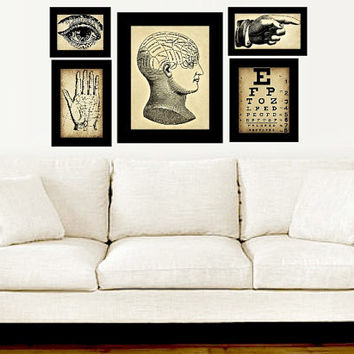 Vintage Medical Electic Gallery Wall - Wall Art - Vintage Anatomy - Vintage Home Decor - Eclectic Gallery Wall - Vintage Gallery Art