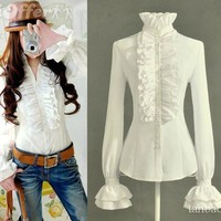 iOffer: women shirts formal blouse Lotus OL noble bell sleevees for sale
