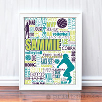 Volleyball Print Personalized Volleyball Typography by PrintChicks