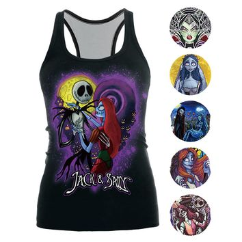 [You're My Secret] 2018 Fashion The Nightmare Before Christmas Tank Top for Women Corpse Bride Gothic Style Sleeveless T Shirt