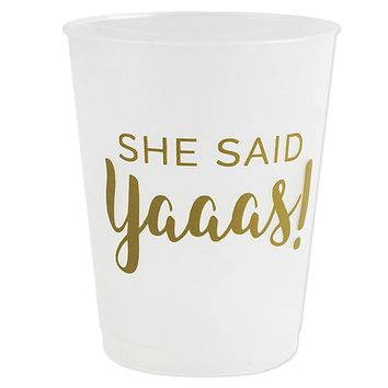 "Details about  ""She Said Yaaas"" Bachelorete Bridal Party Cups for Wedding, Engagement (16 Sets)"