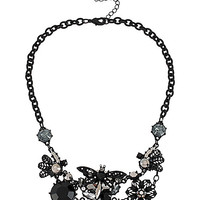 BLACKOUT DRAGON FLY FLOWER CLUSTER NECKLACE BLACK