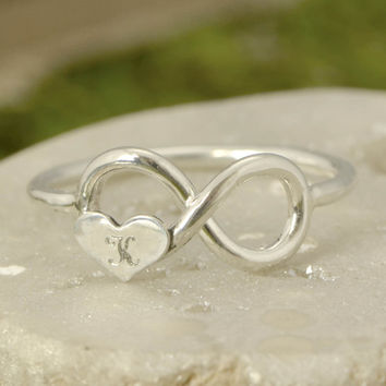 Engraved Ring - Personalized Ring - Silver Infinity Ring - Handmade Heart Ring - Heart Jewelry - Silver Ring