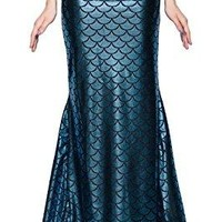 Magical Mermaid Blue Tail Scale Pattern Maxi Skirt