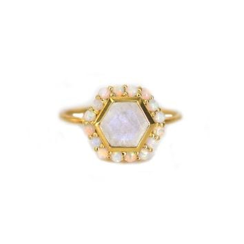 Rainbow Moonstone & Opal Blooming Lotus Ring