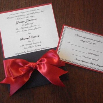 25 Wedding RED and Black with Bow 25 by PaperDivaInvitations