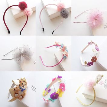 Korea Flowers Hand Made Ribbon flowers Retro Hair Accessories Hairband for Kid Crown Hairpin Headbands For girls