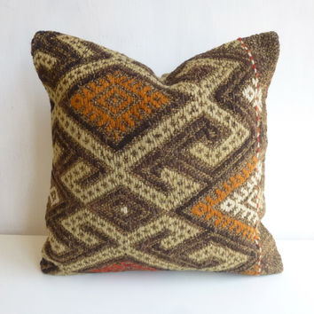 Brown Kilim Pillow Cover with colorful Embroideries