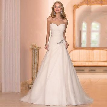 Beaded Cheap Organza Beach Wedding Dresses China ball gown Elegant Backless Bridal Dress Pleats 2017 Mermaid Wedding Dress