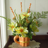Spring Floral / Summer Floral / Yellow Orange Floral / Floral Arrangement In Carrot Mug / Tabletop Floral / Kitchen Floral / Garden Floral