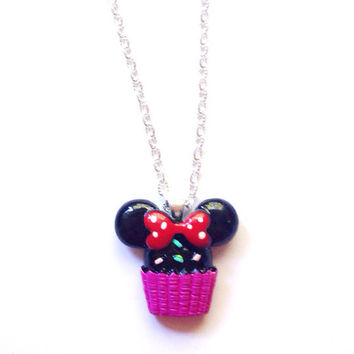Handmade Minnie Mouse Cupcake Necklace with Dark Pink Base and Red Bow and Silver Chain