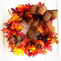 Orange Fall Wreath For Door Thanksgiving Wreath Leaves Leaf Pumpkins Brown Bow Autumn Home Decor