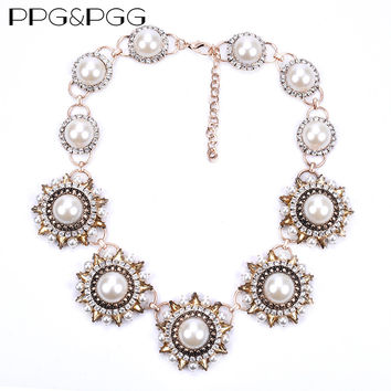 PPG&PGG Fashion Exaggerated Collar Choker Big Jewelry Balls Cross Imitation Pearls Chunky Chain Statement Necklace For Women