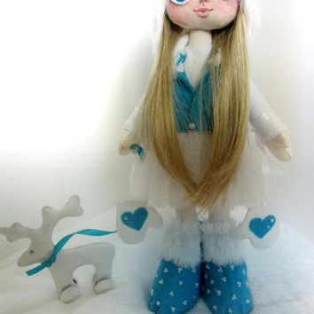 snow girl, snow doll, doll with bag, deer, textile doll, decorative art dolls, handmade, interior doll, cloth doll, exclusive