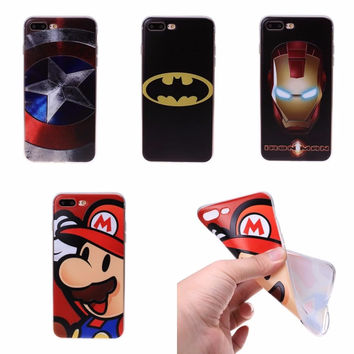 For Apple iPhone 7 Plus Case 3D Relief TPU Cases Silicon Cover For  iPhone 7 iPhone7 Superman Iron man Batman Captain America -Girllove100