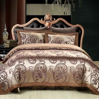Luxury Silk Jacquard Boho Bedding sets Bed cover Double Queen/King size Duvet cover set Coffee Bed sheet/Fit sheet Pillowcase