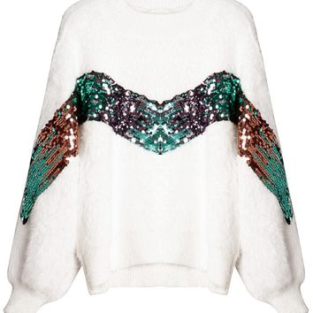 White Sequin Detail Fluffy Mohair Knit Sweater