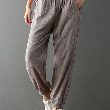 Casual Solid Color Drawstring Waist Pants For Women