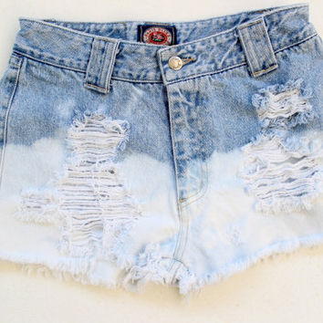 High waisted bleached shorts