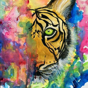 Vibrant tiger art print from original abstract water color painting, Big cat African wildlife art print