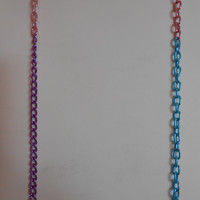 36 inch long Light Pink, Purple and Turquoise Single Chain Layering Necklace