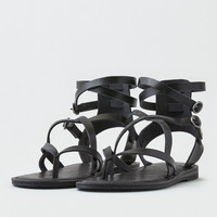 AEO Ankle Wrap Thong Sandal , Black