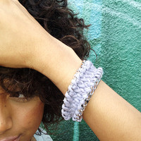 Gray knitted upcycled t-shirt yarn silver chain bracelet