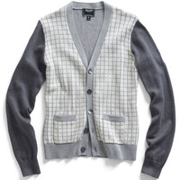 Check Knit Cardigan in Grey