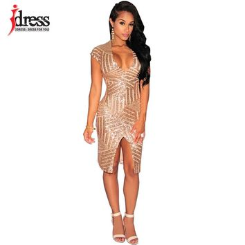 IDress 2017 New Style Summer Dress Women Sexy Club Dress Party Night Club Dress Vestido Robe Femme Party Black Gold Sequin Dress