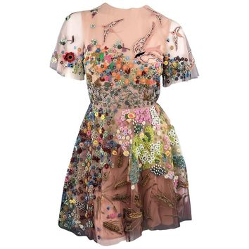 Valentino Silk Floral Bird Embroidered Tulle Cocktail Dress