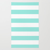Stripe Tiffany Blue Bold Horizontal Rug by Beautiful Homes