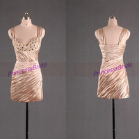 Short champagne satin homecoming dress 2014,cheap chic prom dresses under 100,sexy sheathy women gowns for holiday party.