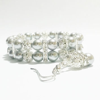 Silver Bracelet and Earring Set / Silver Wedding / Silver Bridesmaid Jewelry / Bridal Jewelry / Bridal Shower Favors / Mother of Bride Gift