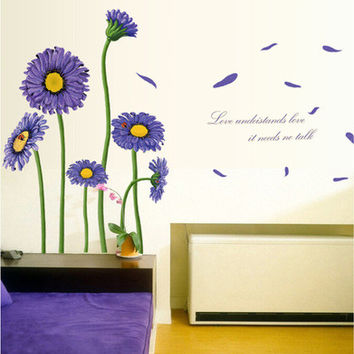 Purple Daisy sunflower DIY TV setting removable wall stickers PVC paste SM6
