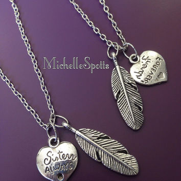 2 Birds of a Feather Flock Together Necklaces Best Friends Necklaces Sisters Always Necklaces Friendship Necklaces Leather Necklaces Chains