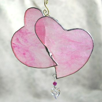 Stained Glass Window Ornament Soft Pink Heart by GaleazGlass