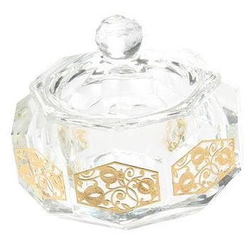 Crystal Honey Dish 8*7cm- with Metal Plaque- Pomegranate Motif