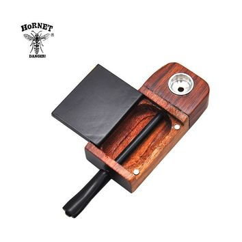 Hornet Natural Classic Handmade Rose Wood Smoking Pipe 106MM With Metal Bowl Storage Case Tobacco Weed Pipe Smoke Accessories