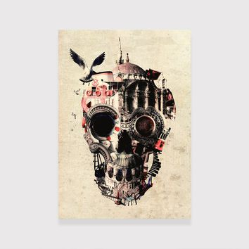 Istanbul Skull Wood  Print, City Skull Art Wooden Home Decor, Sugar Skull Wall Art