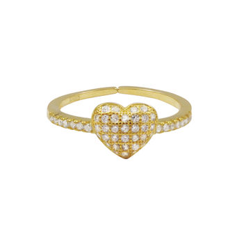 Gold Plated Sterling Silver, CZ Heart Adjustable Ring
