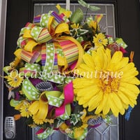 Spring Wreath, Summer Wreath, Front door wreath, Wreath for door, Door Hanger, Floral Wreath, Door Wreath, Ready to Ship