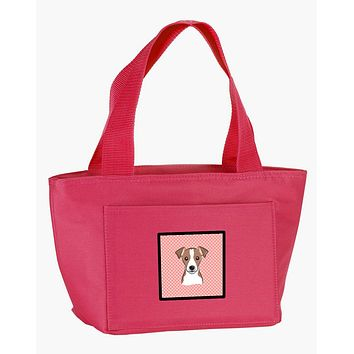Checkerboard Pink Jack Russell Terrier Lunch Bag BB1260PK-8808