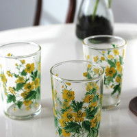 Vintage Floral Juice Glasses, Set of 3