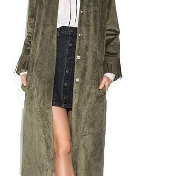 Women's Autumn Army Green Single-Breasted Long Outwears Fashion Pockets Slim Fit Trench Dusty Coat Female Outwears
