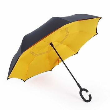 C-Handle Parasol Folding Rain Windproof Umbrella Double Layers Inverted Reverse