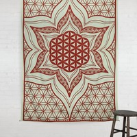 Deep Red Mandala Lotus Flower Hippie Hippy Wall Hanging Throw Tapestry