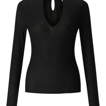 Black Long Sleeve Keyhole Top - Tops - Apparel