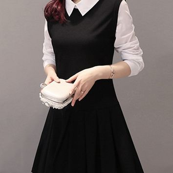Casual Color Block Doll Collar Inverted Pleat Skater Dress