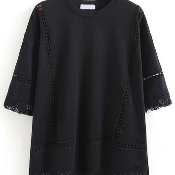 Fringe Hollow Out Black T-shirt