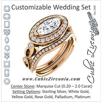 CZ Wedding Set, featuring The Madison engagement ring (Customizable Marquise Cut Design with Halo and Bezel-Accented Infinity-inspired Split Band)